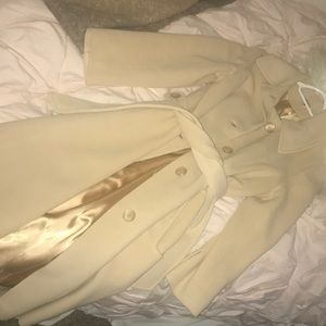 100% Cashmere Vintage Trench Coat in Cream